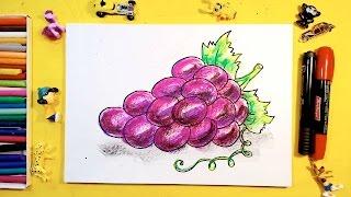 Как нарисовать ВИНОГРАД / Урок рисования для детей от 3 лет(Простые рисунки делает Папа РыбаКит для детей. Сегодня рисую гроздь винограда.