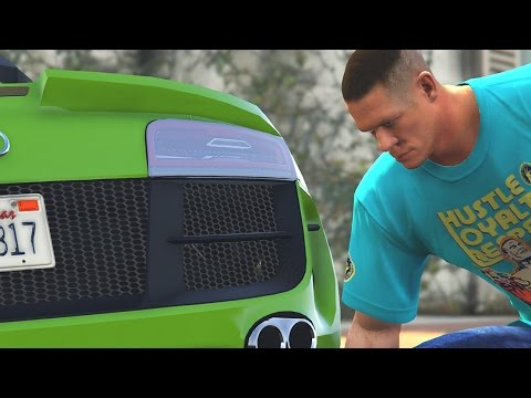 GTA 5 WWE Mods - JOHN CENA STEALS RUSEVS CAR! (Grand Theft Auto V Mods)