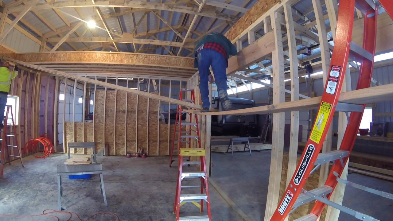 Workshop Installing Floor Joists In The Pole Shed Youtube