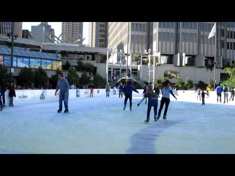 Holiday Ice Rink Embarcadero Center Justin Herman Plaza San Francisco California November 2010