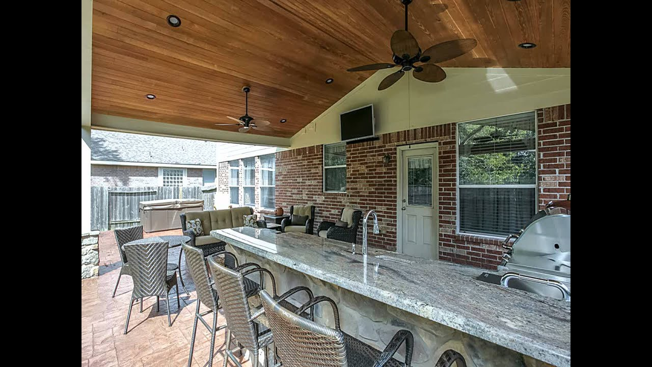 Covered Patio with Outdoor Kitchen - YouTube on Outdoor Kitchen Patio  id=65126