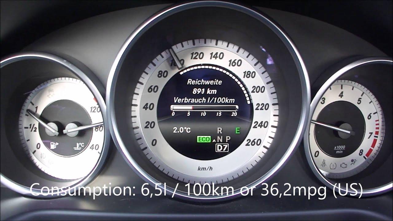mercedes benz e200 facelift fuel consumption test - youtube