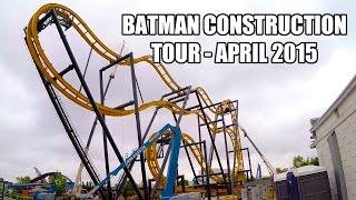 Batman The Ride Construction Tour April 2015 Roller Coaster Six Flags Fiesta Texas