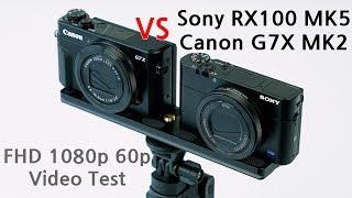 Sony RX100 MK5 vs Canon G7X MARK2 1080p 60p Video Test