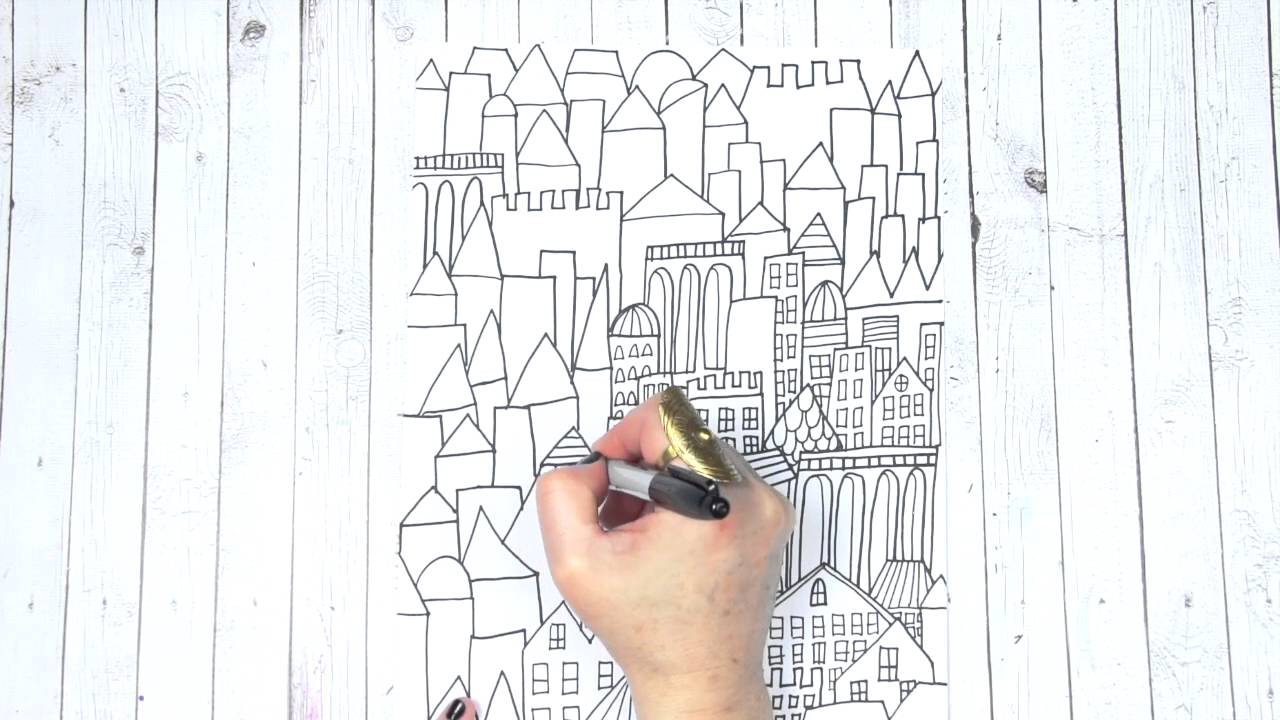 city coloring page - YouTube