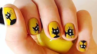 Кошка на ногтях - Дизайн ногтей на Хэллоуин(Как нарисовать кошку на ногтях - легко и просто! Для этого маникюра вам понадобится только жидкая подводка..., 2016-09-16T08:55:55.000Z)