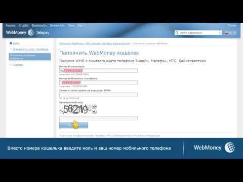 Пополнение WebMoney Check со счета мобильного