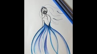 DIY Drawing a Girl with Blue Dress. Beautiful Drawings, Blue Dress.