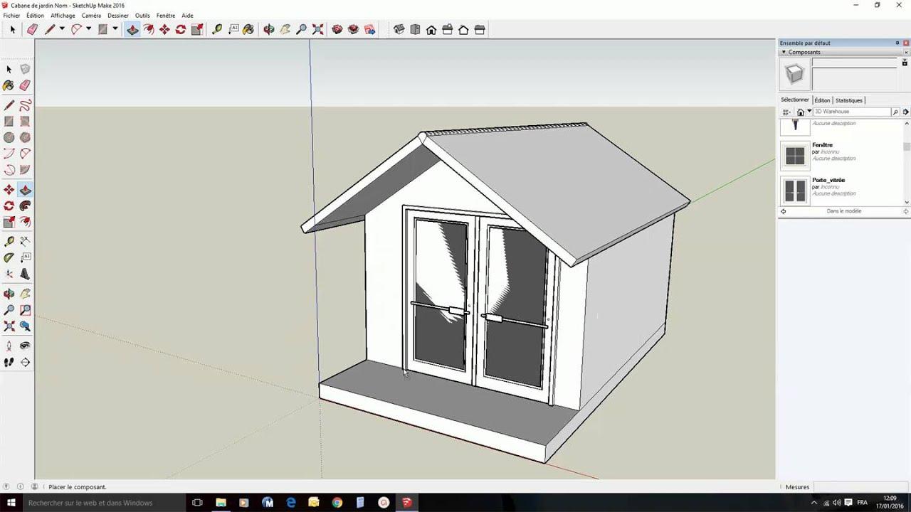 sketchup tutoriel d 39 initiation aux outils de base de google sketchup cabane de jardin youtube. Black Bedroom Furniture Sets. Home Design Ideas