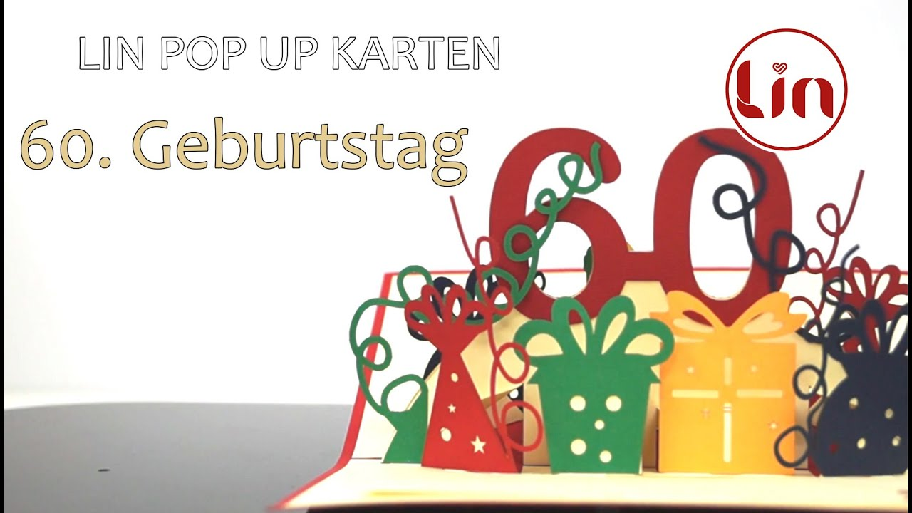 pop up karte zum geburtstag 3d klappkarte 60 geburtstag youtube. Black Bedroom Furniture Sets. Home Design Ideas