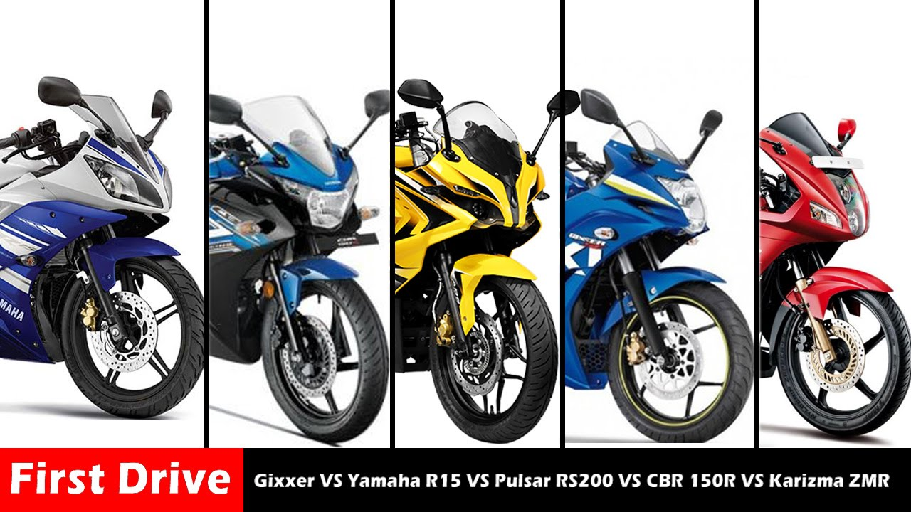 Bajaj pulsar rs200 vs ktm rc200 vs honda cbr250r comparison youtube - Suzuki Gixxer Vs Yamaha R15 Vs Bajaj Pulsar Rs200 Vs Honda Cbr 150r Vs Hero Karizma Zmr Youtube