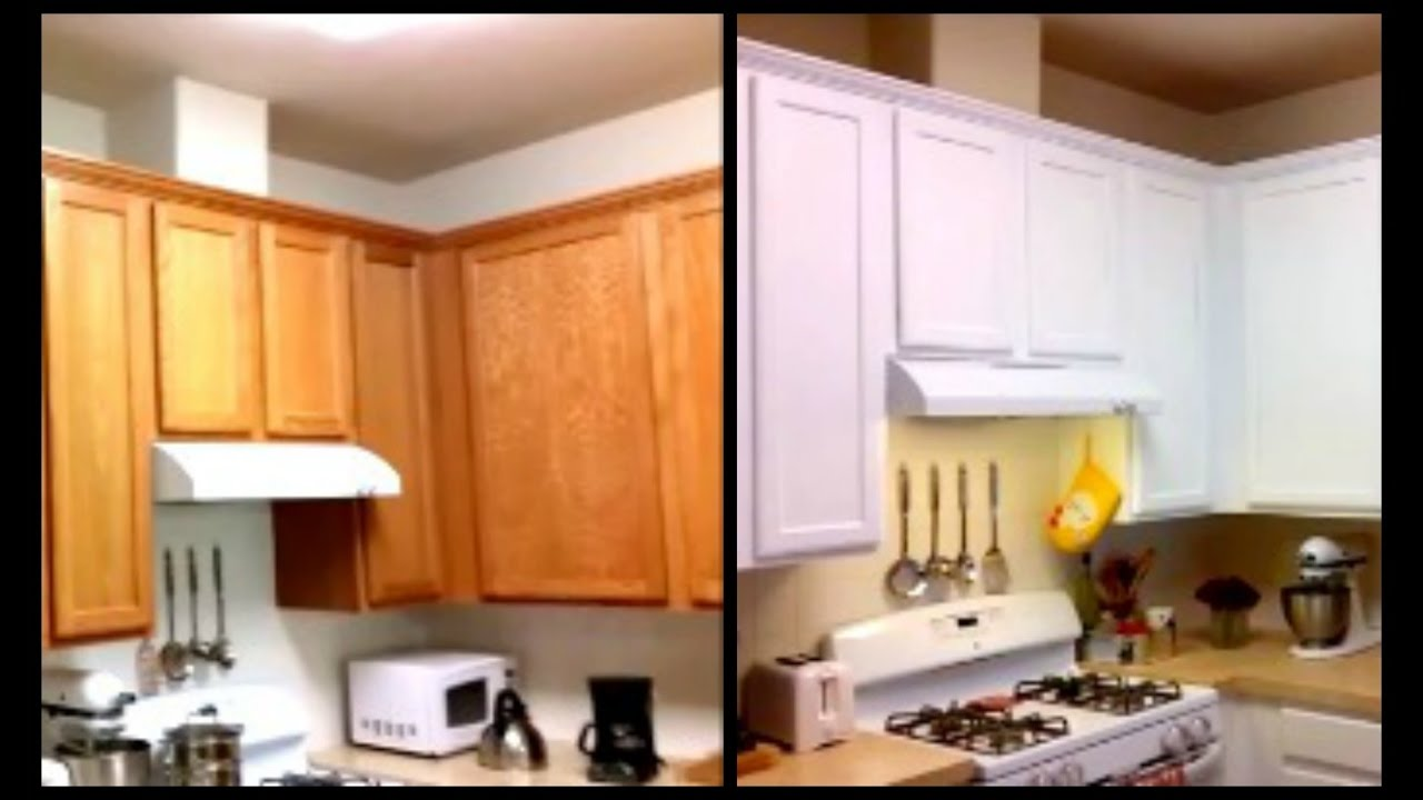 Paint Cabinets White For Less Than $120   DIY Paint Cabinets   YouTube