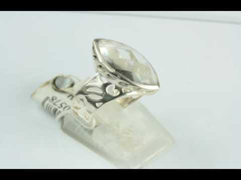 Кольцо оправа серебро 925, вставка горный хрусталь
