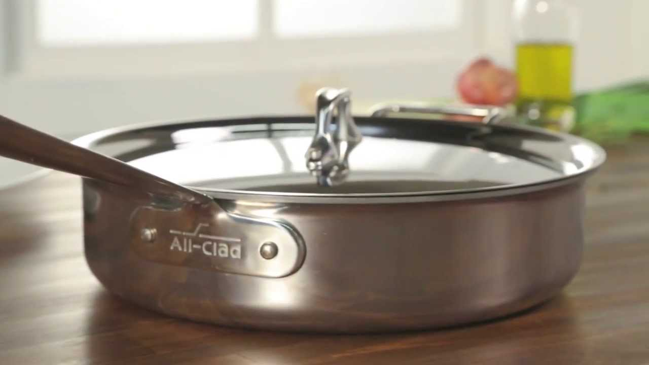 allclad stainless steel saut pan with nonstick interior and lid 4 qt