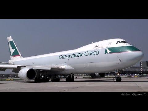 STUNNING! Cathay Pacific Cargo B747-8F landing-start up-taxi-takeoff VERY CLOSE! @ Milan Malpensa