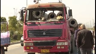 Truck Driver Killed by Cement Pipes in East China City