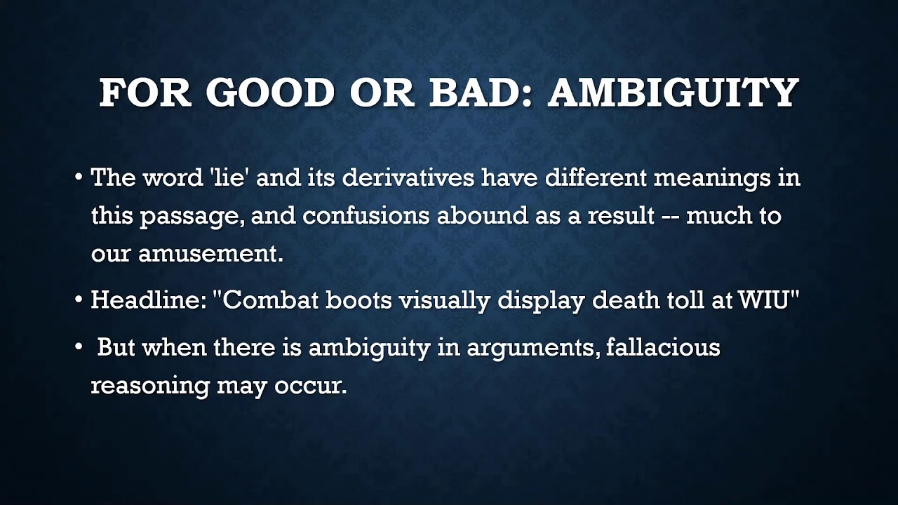 Ambiguity and Vagueness in logic and reasoning - YouTube