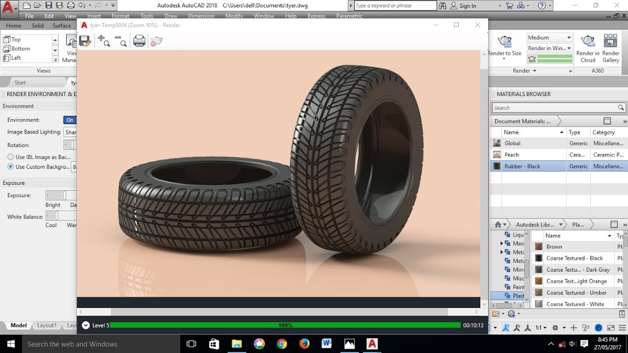 Autocad 3d Modeling Tyre Tutorial Autocad 2018 Youtube