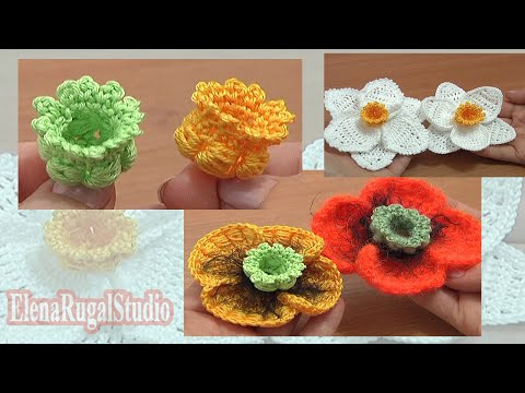 Crochet 3D Bellflower Tutorial 68 Part 1 of 3 Center for Poppy Flower Narcissus Daffodil