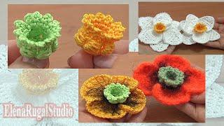 Crochet 3d Bellflower Tutorial Part Center Poppy Flower Narcissus Daffodil