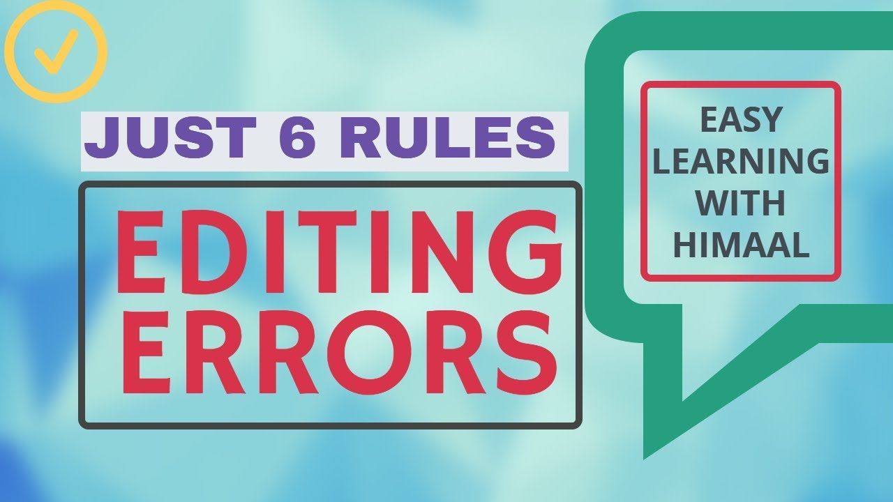 Editing Errors Rules  Part 1 (cbse)  Subject Verb Agreement Easy Learning  Youtube