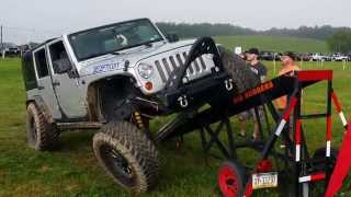"Wrangler Jku With 3.5"" Metalcloak Game Changer Arb Flexing On Rti Ramp"