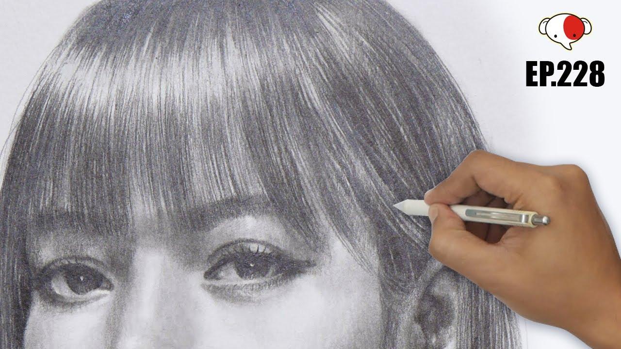 ขั้นตอนการแรเงาทรงผม   Lisa Blackpink   how to draw realistic Hair/pencil shading Hair/ep.228