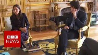 Macron's dog interrupts meeting - BBC News