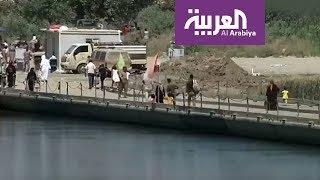 افتتاح جسر عائم شيده الجيش العراقي في الموصل للمدنيين