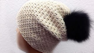 ✅Теплая шапка бини, вязание крючком для начинающих, crochet.