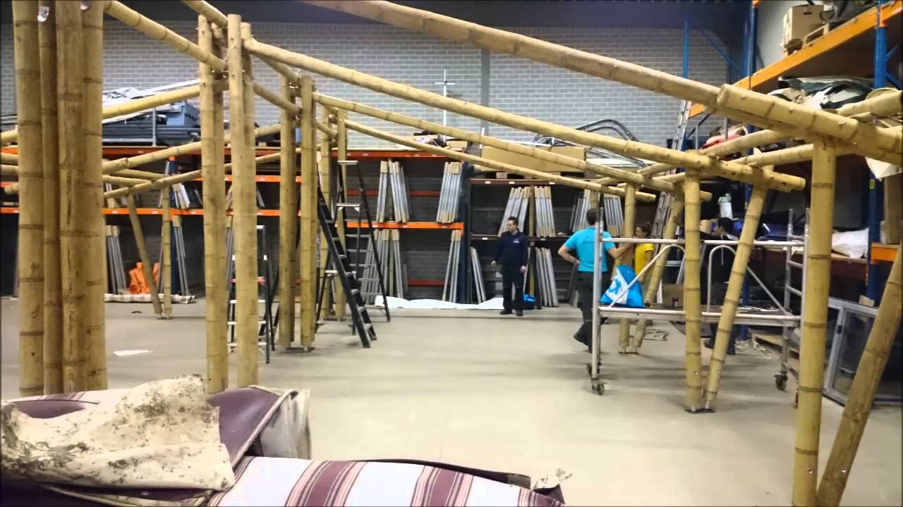Building the frame Mocadazu luxury bamboo tents & Building the frame Mocadazu luxury bamboo tents - YouTube