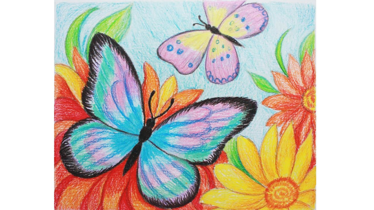Как нарисовать бабочку на цветке