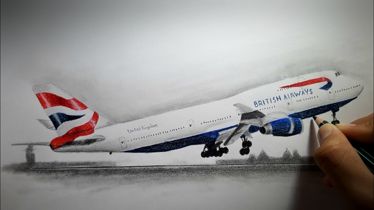 Drawing an Airplane ( British Airways B747)