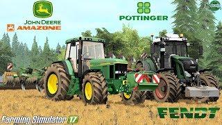 Farming Simulator 17   Fendt 828 Vario S3 + Pöttinger Servo 45 Plus   JD 7610 + Amazone Cenius 3002