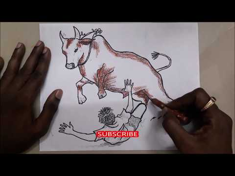 Jallikattu Drawing 2019 Pongal Festivel Bull Drawing