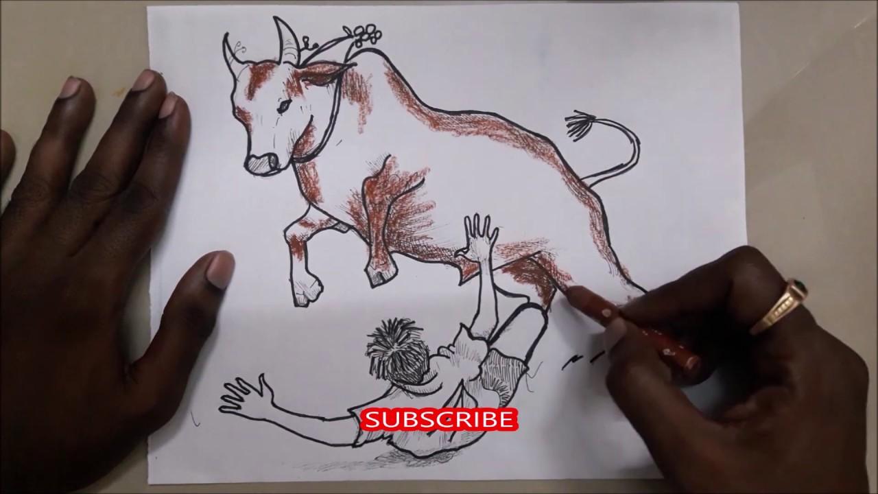 Jallikattu Drawing And Coloring Jallikattu Bull Free Drawing Course Class Youtube