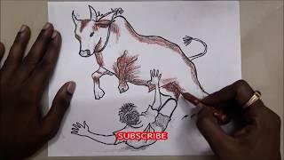 Jallikattu | Drawing and coloring jallikattu bull | Free drawing course class