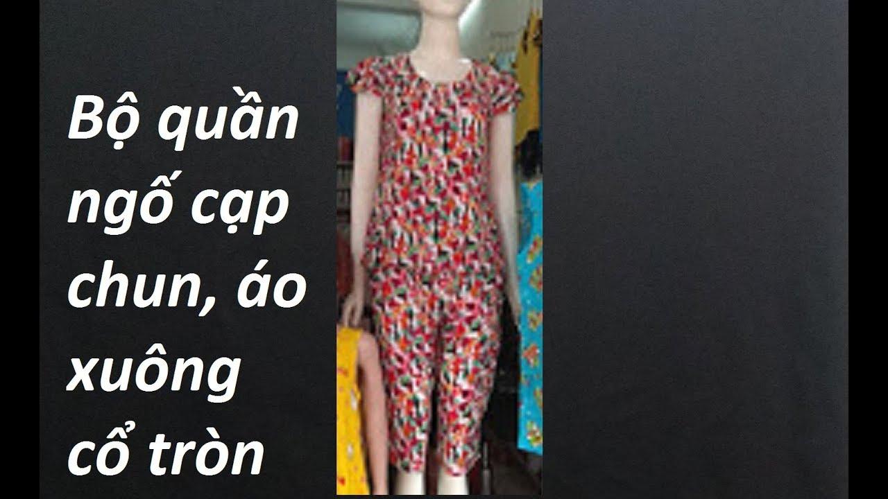 Hướng dẫn cắt bộ đồ quần ngố cạp chun mặc nhà- Part 2 Áo xuông cổ tròn. How to make women's shirt.
