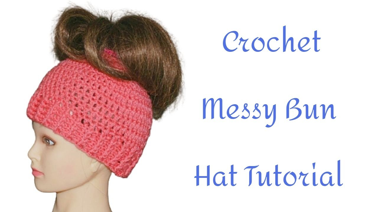 041412d326b38 Crochet Ponytail Holder Messy Bun Hat Tutorial - Crochet Jewel - YouTube