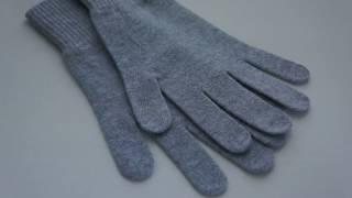 Серые перчатки из 100% кашемира