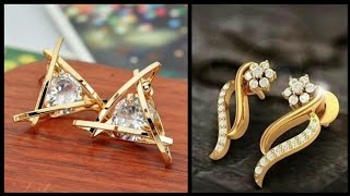 New Latest Top stunning  daily wear light weight gold stud earrings designs with price 4 women 2019