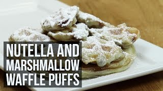 Nutella and Marshmallow Waffle Puffs  Three Ingredient Waffle Iron Dessert Recipe by Forkly