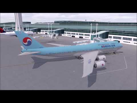 P3D V4.4 PMDG 747-8i Korean Air 011 Seoul To L.A On Vatsim