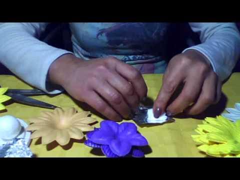 flor de goma eva para escarbadientes - YouTube