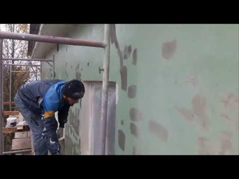 Грунтовка и покраска фасада здания окрасочным аппаратом Yokiji 120