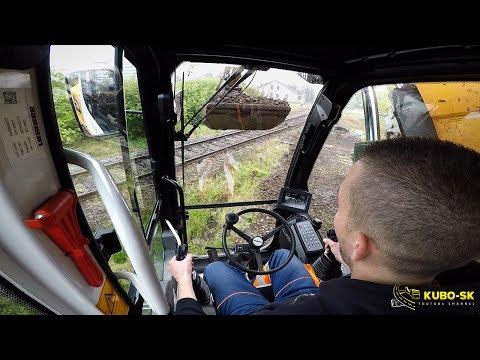 Liebherr A918 Excavator Digging Macadam From Railway Track - Cab View