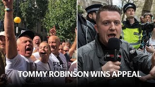 Far-right leader Tommy Robinson wins appeal and is freed from prison