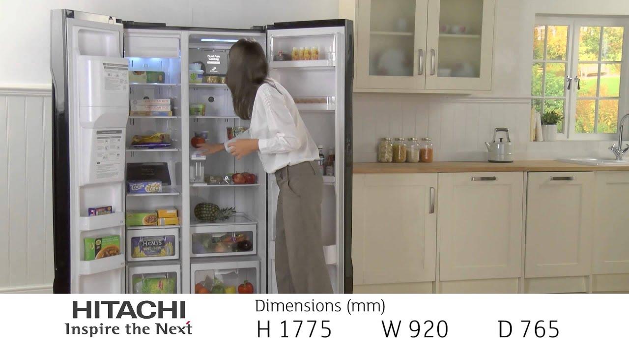Hitachi Side by Side Refrigerator R-S700GPRU2BLK - YouTube