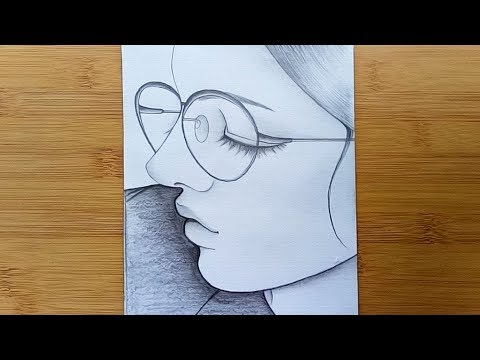 How to draw a Girl with Glasses step by step //Pencil sketch thumbnail