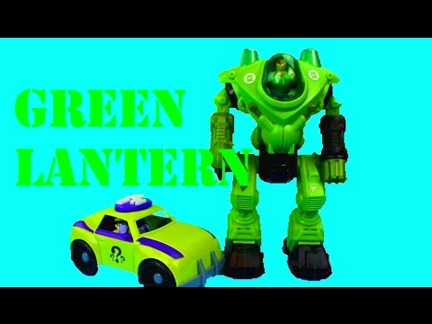 imaginext the riddler car takes missile launcher and green lantern robot saves the day